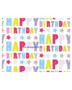 Cadeaupapier Happy Birthday Lengte 100 mtr