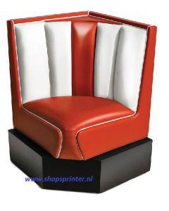 Bel Air Hoekbank rood/wit