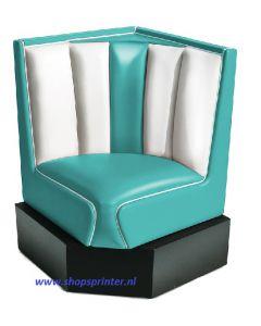 Bel Air Hoekbank turquoise/wit