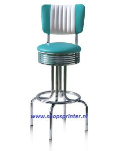 Bel Air Barkruk vierpoot fles in turquoise/wit