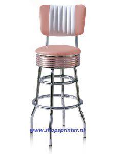 Jaren 50 barkruk, Bel Air Barkruk BS29CB combinatie met wit, hoog 770 mm (incl. rug 1090 mm). Alleen in roze/wit. OP=OP