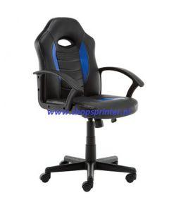 Bureaustoel in zwart PU PVC met blauw PU zitting