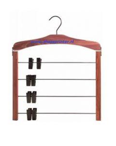 Kleding hanger voor 4 broeken/rokken hout