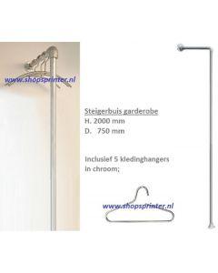 Steigerbuis garderobe H.2000xD.750 mm incl. 5 chroom hangers