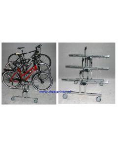 Vrijstaande vloer fietsdisplay 3-traps met wielen